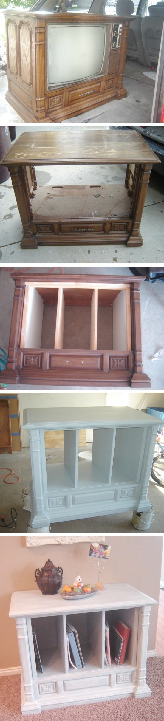 An old TV turned into a living room hutch!