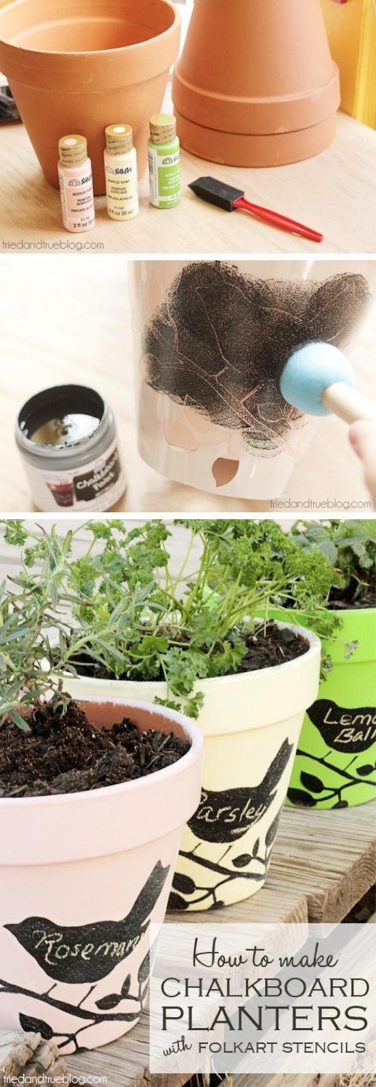 DIY Chalkboard Stencil Planters | Garden Crafts