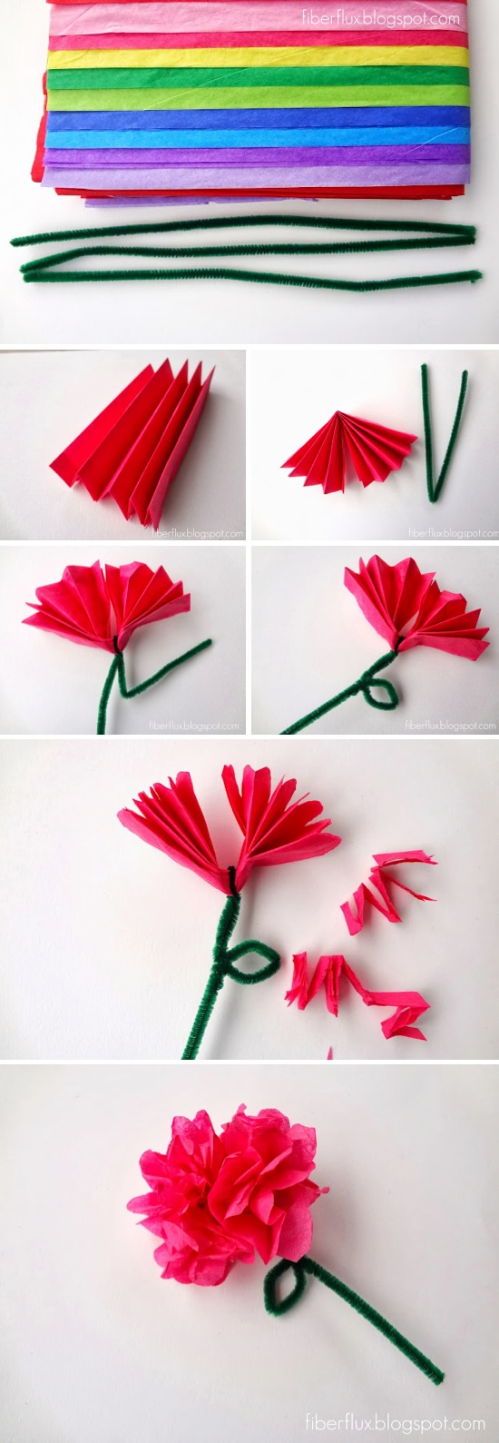 Tissue paper flowers instructions for kids