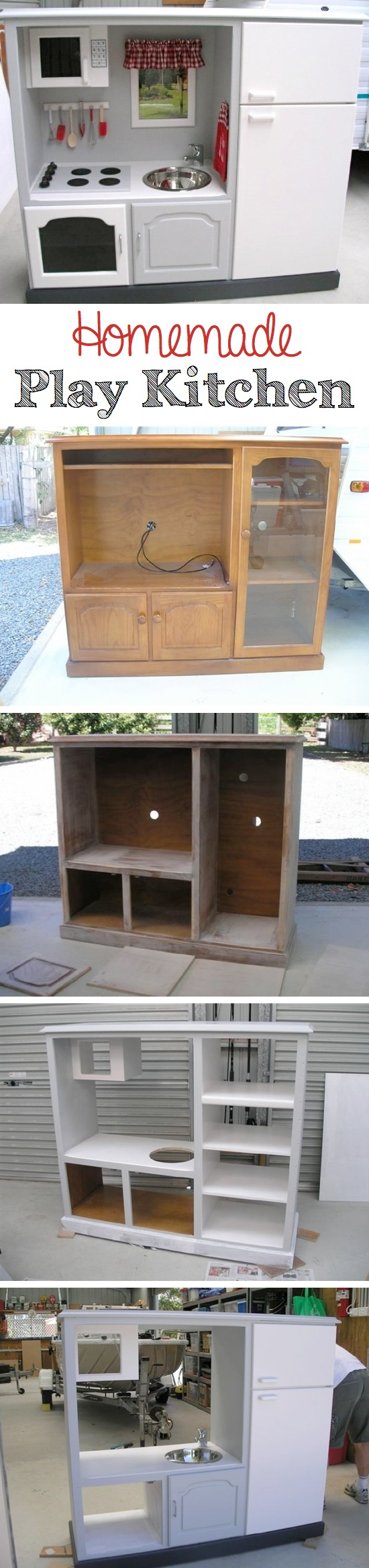 Homemade Play Kitchen   Craft By Photo
