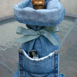 Recycled Jean Wine Bag