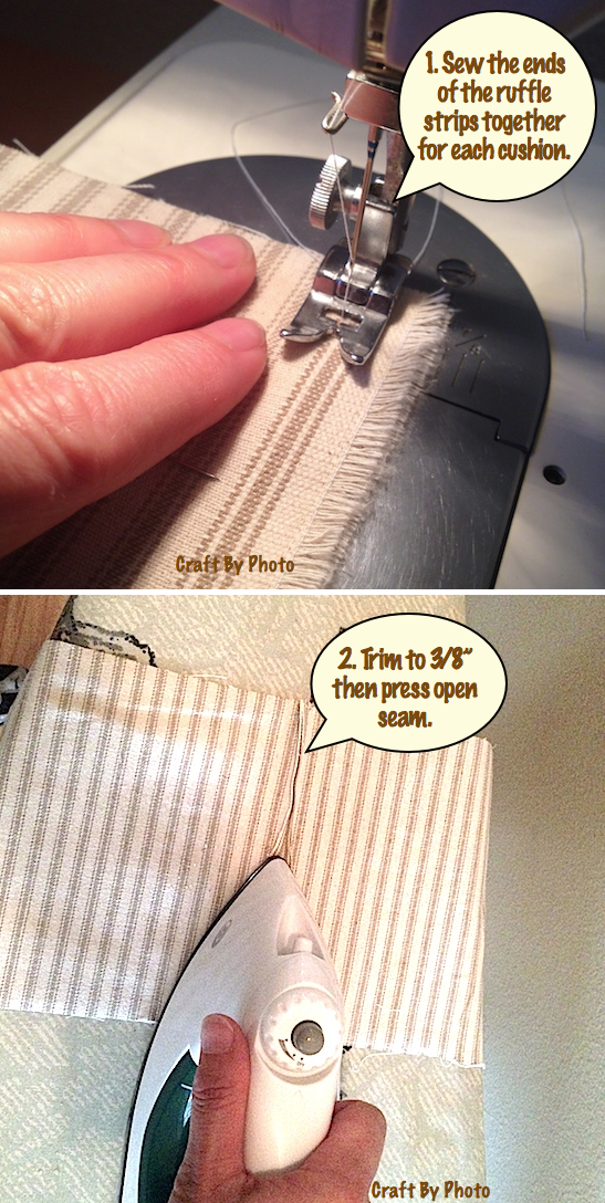 Sew ruffle ends together